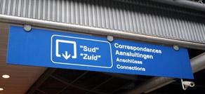 Señalizacion Corredor Sur en Bruxelles Midi