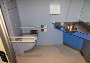Banho para passageiros com mobilidade reduzida